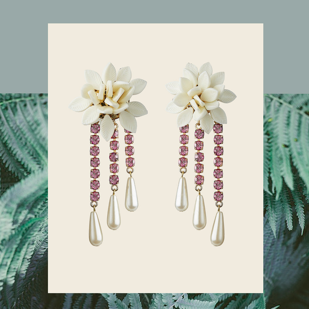 WHITE FLOWER & PINK CRYSTAL DROPS