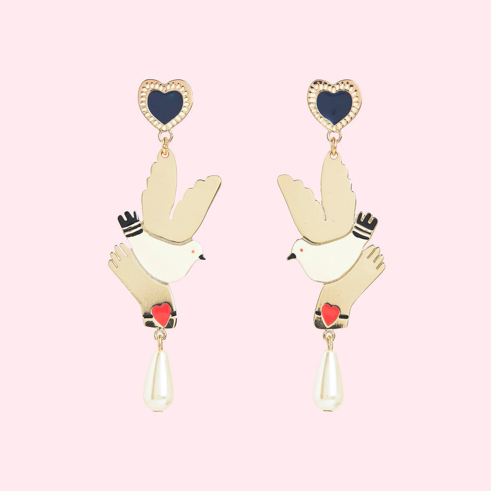 HAND AND BIRD EARRINGS