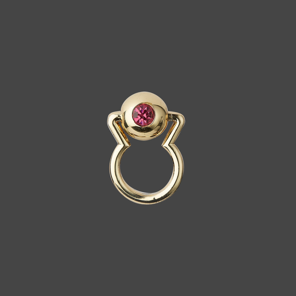 MOVABLE GOLDEN BALL WITH PINK CRYSTAL RING