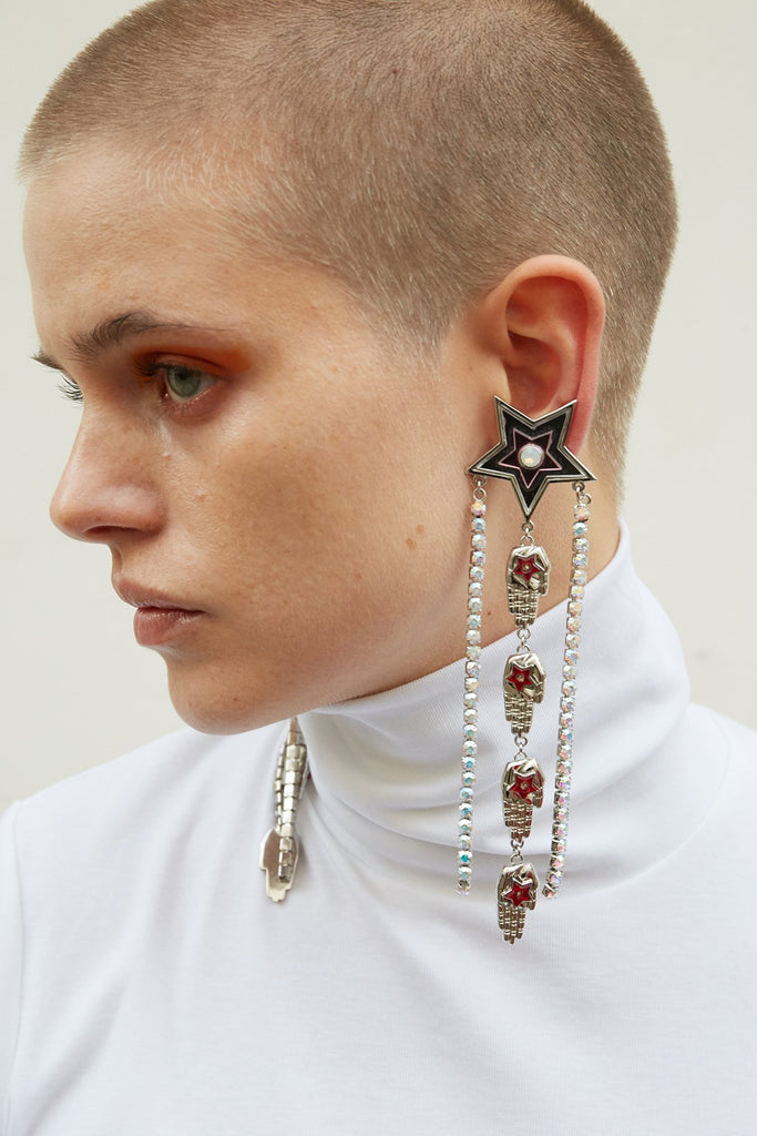 bcf8301b32957 STARS, HANDS AND CRYSTALS LONG EARRINGS | Safsafu