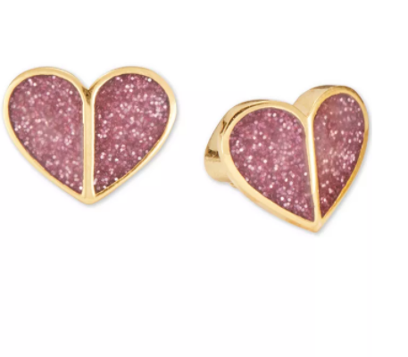 Load image into Gallery viewer, New Kate Spade Gold Tone Pink Glitter Stud Earrings