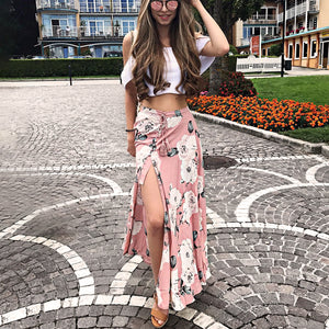 Pink Floral Maxi Skirt with Slit