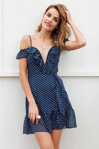 Off Shoulder Sweetheart Neckline Blue Polka Dot Dress
