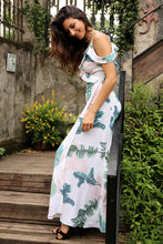 Off Shoulder Floral Maxi Dress with Slit in White