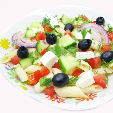 greek salad with pasta