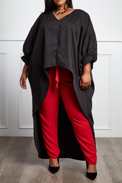 Let's Slay Bobbie High-Low V-Neck Blouse - Houzz of DVA Boutique