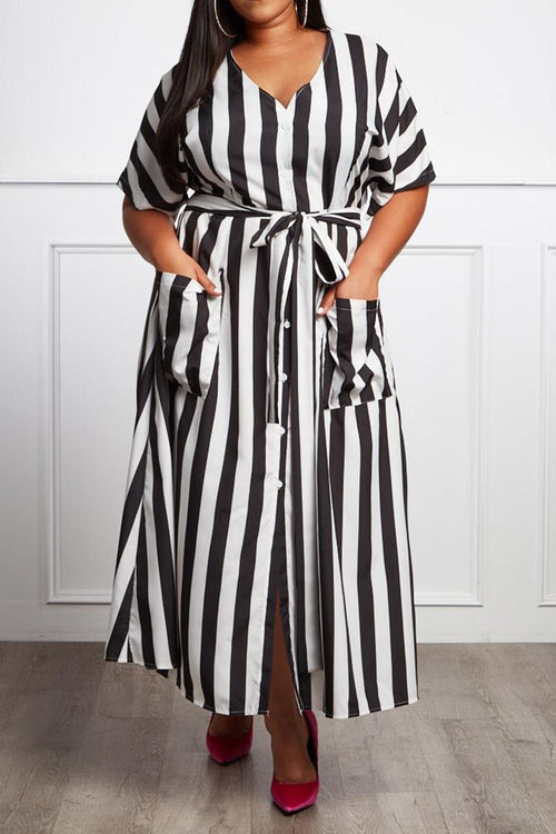 Miss Rivera Black & White Striped Fit & Flare Maxi - Houzz of DVA Boutique