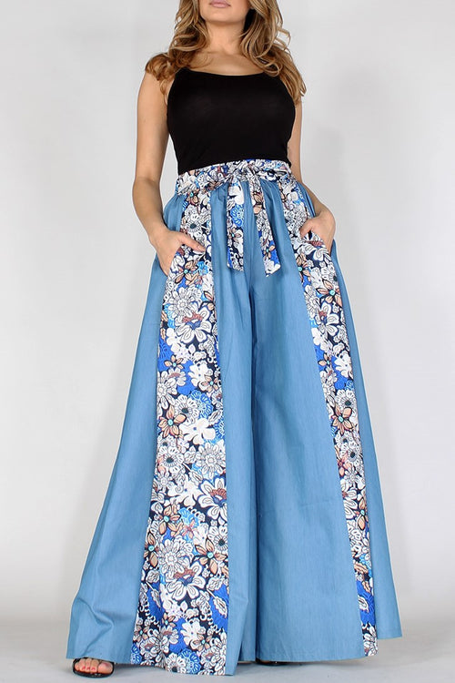 Roxanne's All Mine Chambray Floral High Waisted Wide Leg Pants - Houzz of DVA Boutique
