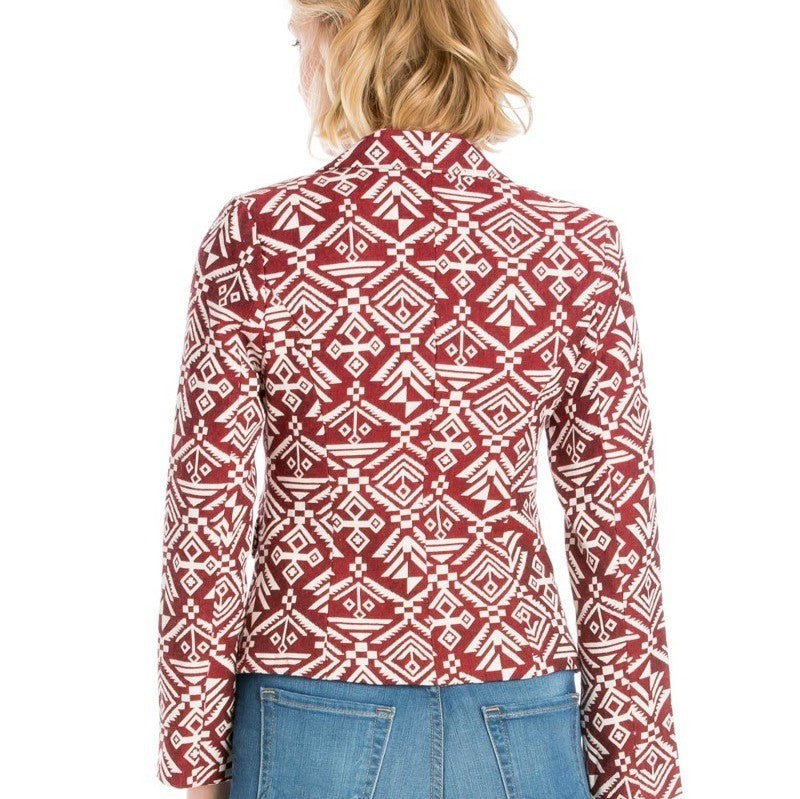 Ashlee Geometric Print Crop Blazer in Burgundy & Off-white - Houzz of DVA Boutique