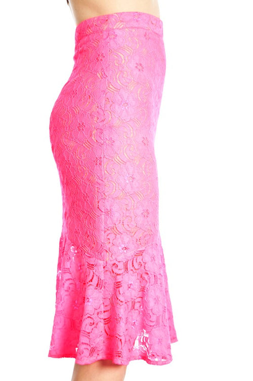 Margo Seriously Pink Floral Lace Pencil Skirt with a Ruffled Hem - Houzz of DVA Boutique