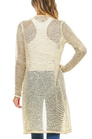 Mallory Metallic Long Body Cardigan in Ivory & Gold - Houzz of DVA Boutique