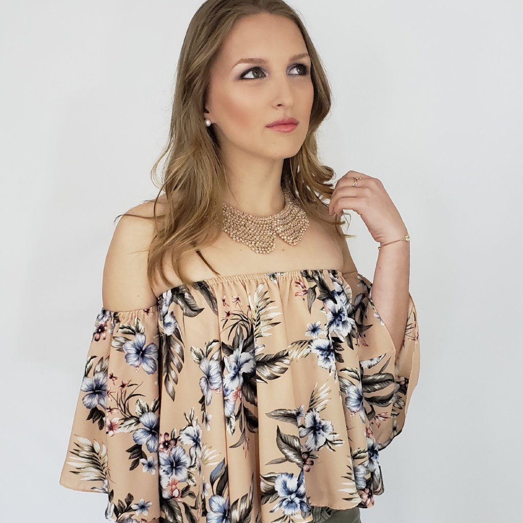 OOH Zaalima Off the Shoulder Boho Top in Blush Floral Print - Houzz of DVA Boutique