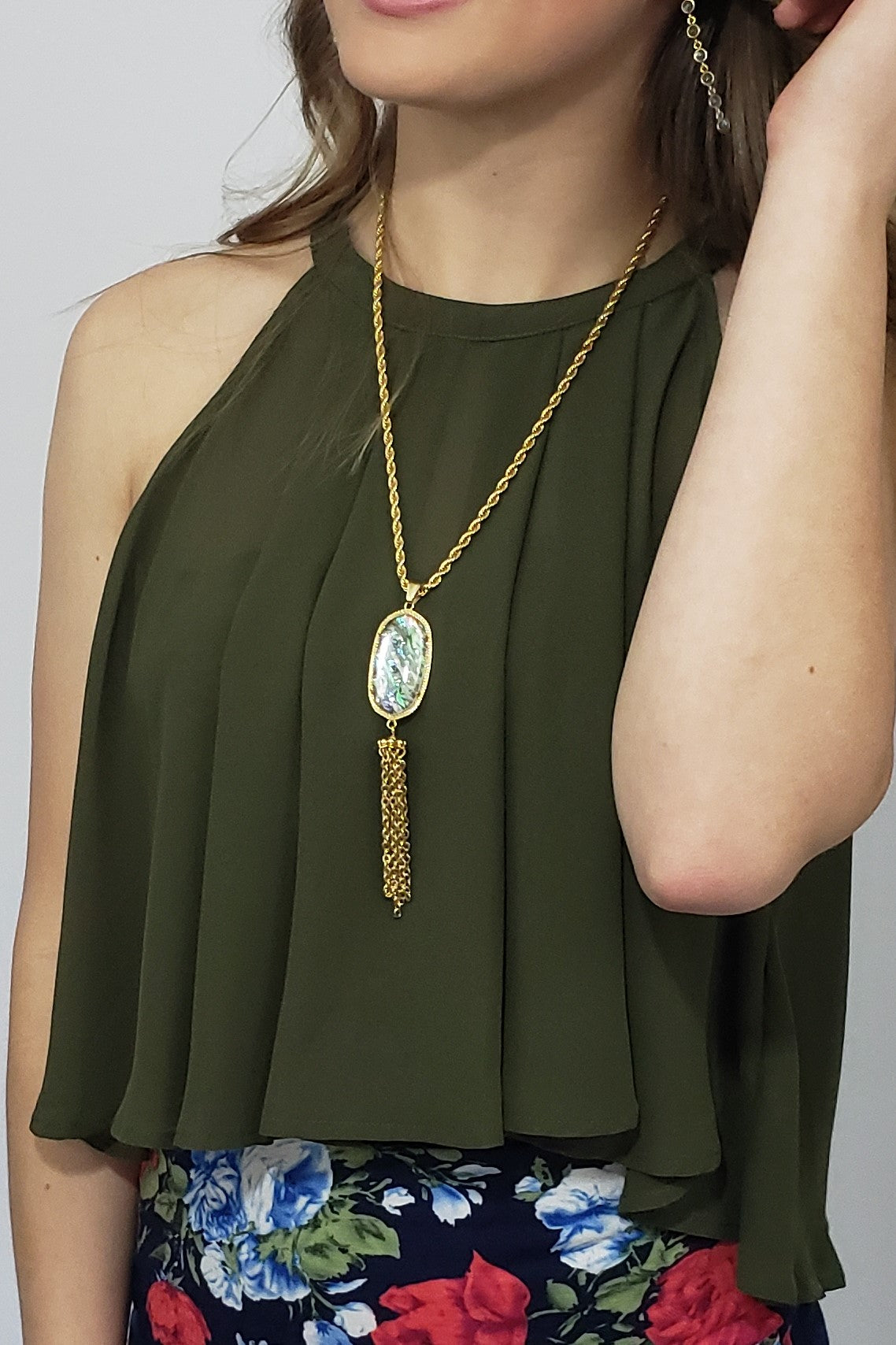 Nzie Swing My Way Chiffon Top in Olive - Houzz of DVA Boutique