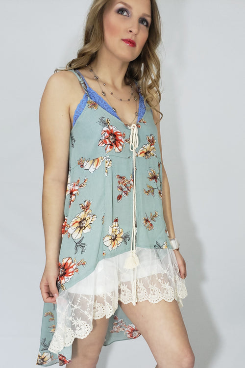 Taylor Delicate Lace Trim Open Front Boho Tank in Sage - Houzz of DVA Boutique