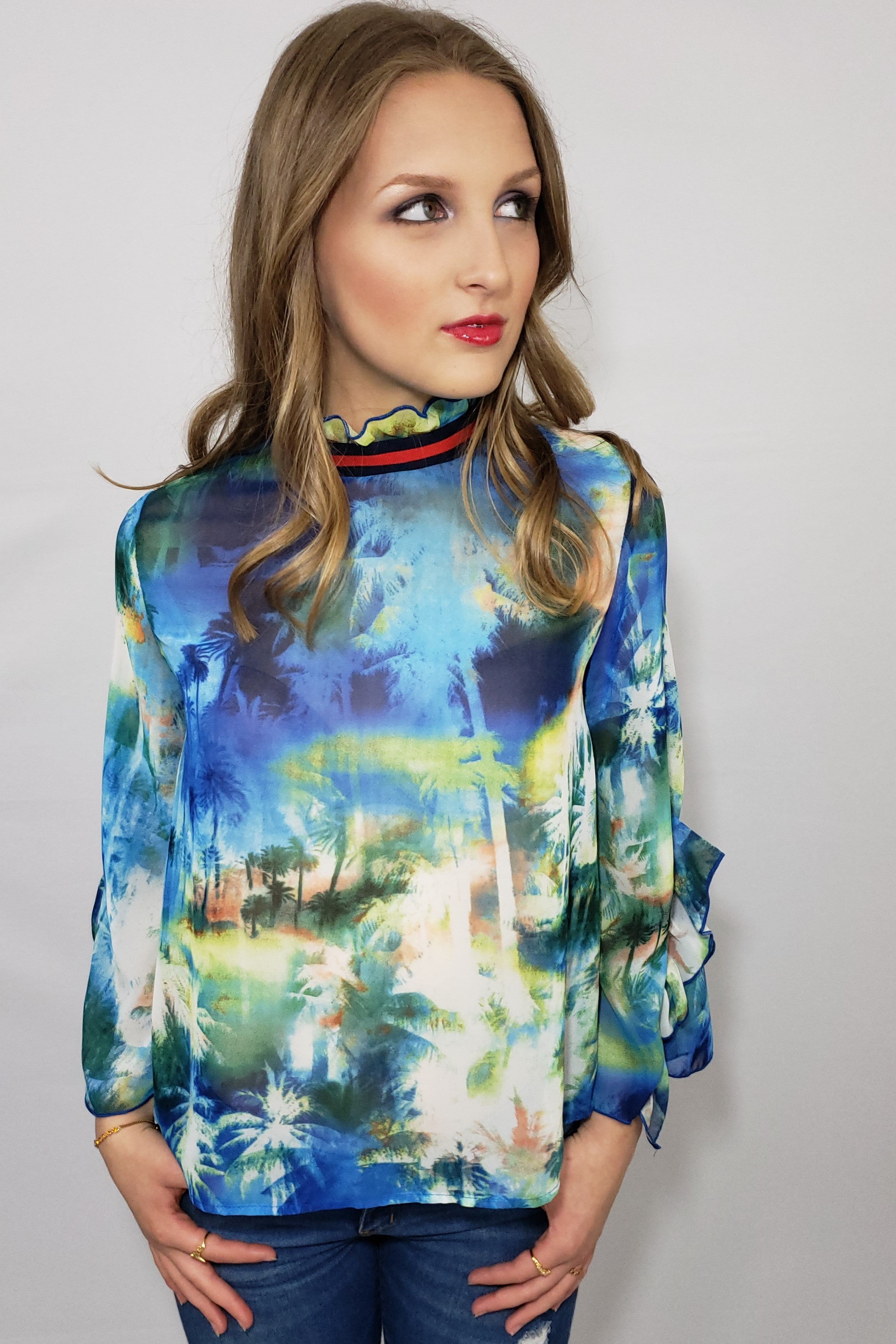 All in the D-Tails Blue Multi-Sheer Blouse - Houzz of DVA Boutique