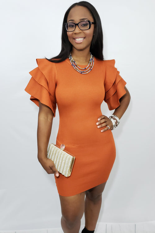 Orange Madness Mini Knit Dress - Houzz of DVA Boutique