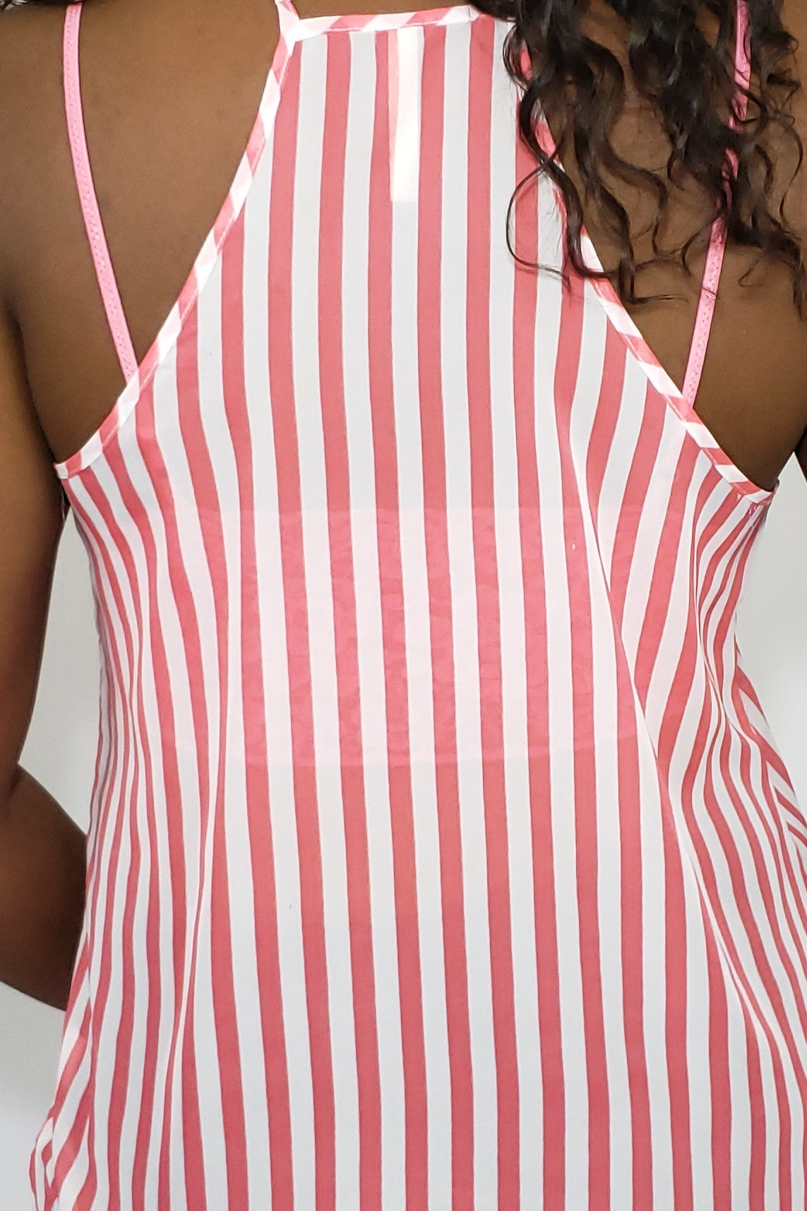 Mia Chiffon Striped Coral and White Camisole Top - Houzz of DVA Boutique