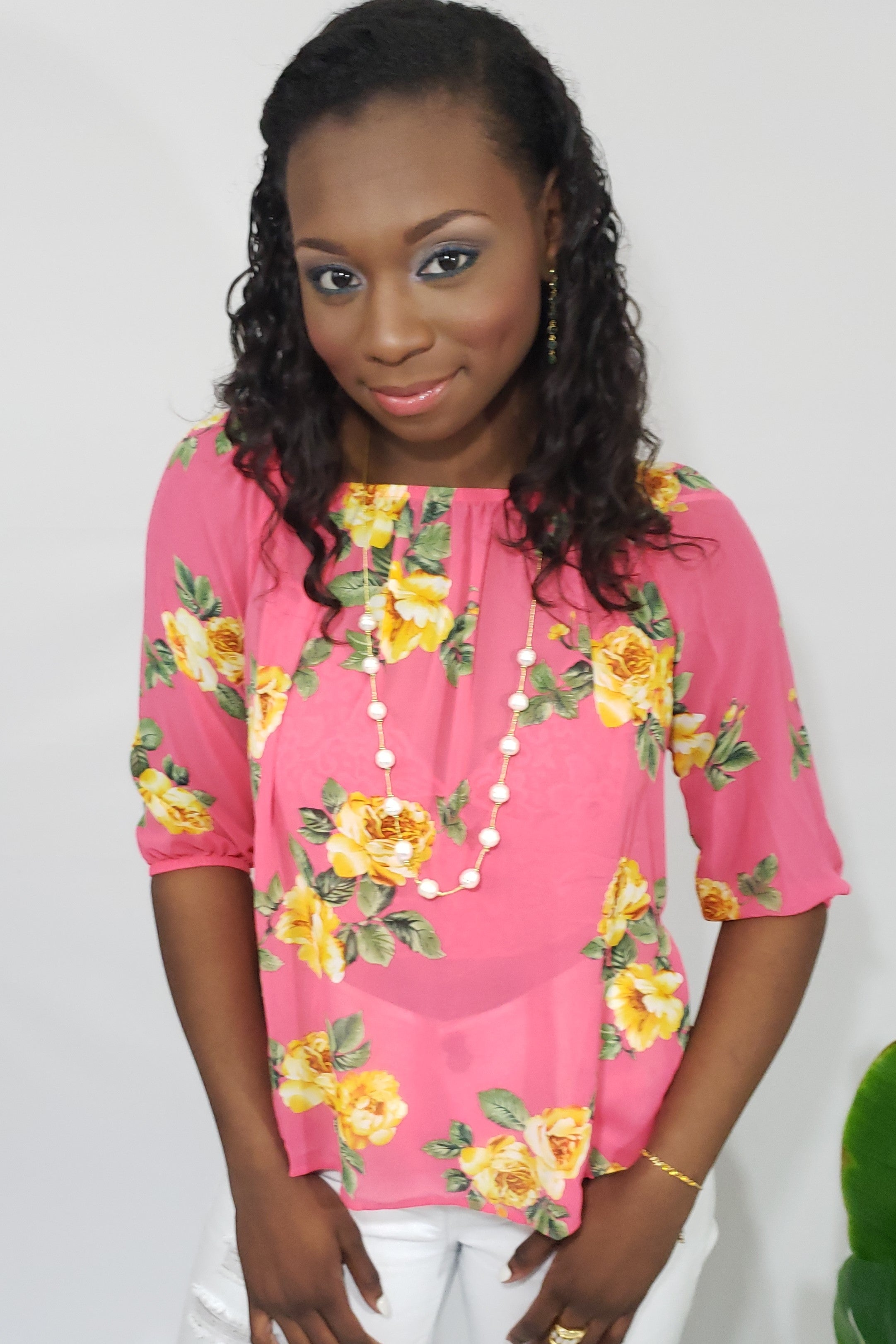Lila Chiffon Floral Print Off the Shoulder Blouse in Coral and Yellow - Houzz of DVA Boutique