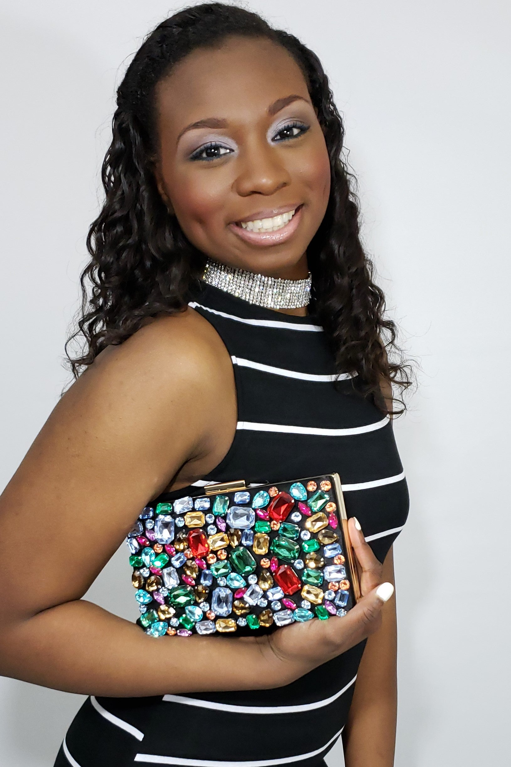 All Eyes on Me Multi-Jewel Tone Clutch - Houzz of DVA Boutique