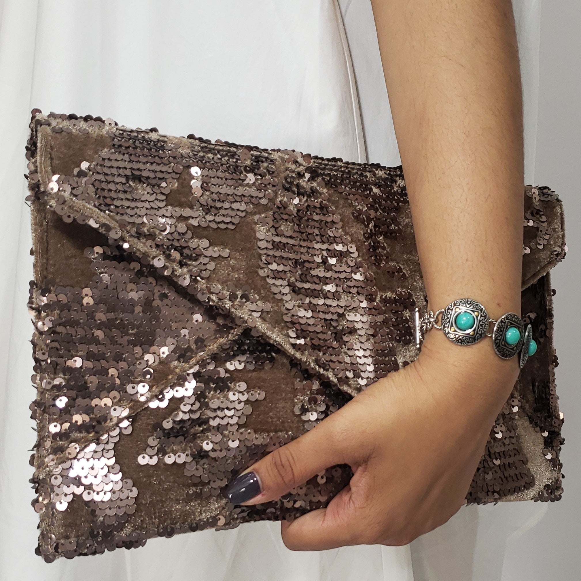 Who Said Khaki Was Boring Large Envelope Sparkle Clutch - Houzz of DVA Boutique