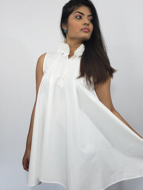 It's A White Affair Sleeveless Mini Dress with Ruffled Collar - Houzz of DVA Boutique