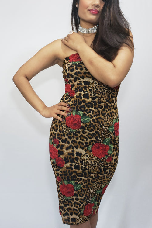 "A Walk on ""D"" Wild Side Animal and Red Roses Midi Tube Dress - Houzz of DVA Boutique"