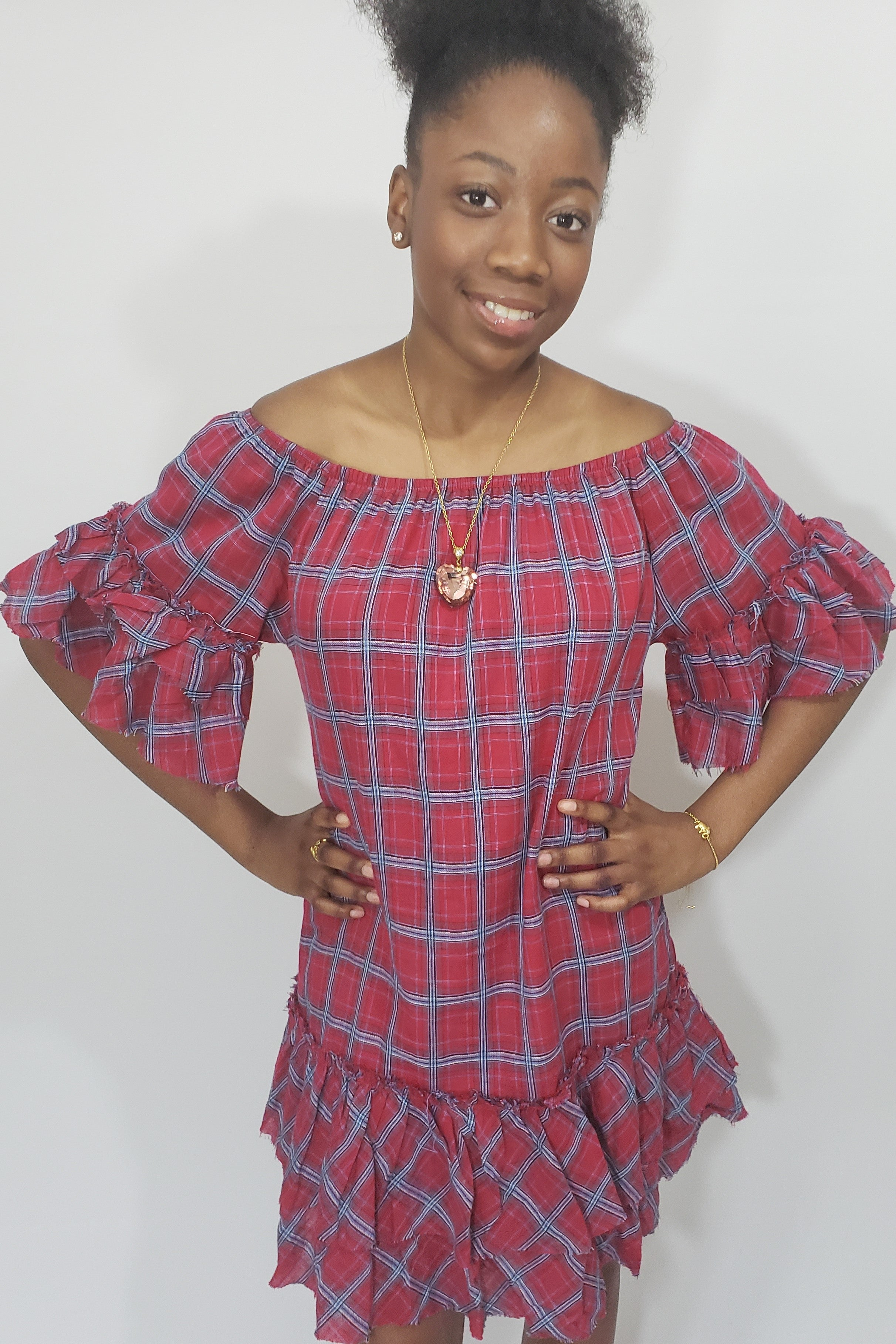 School's Out Off the Shoulder Plaid Ruffle Dress - Houzz of DVA Boutique