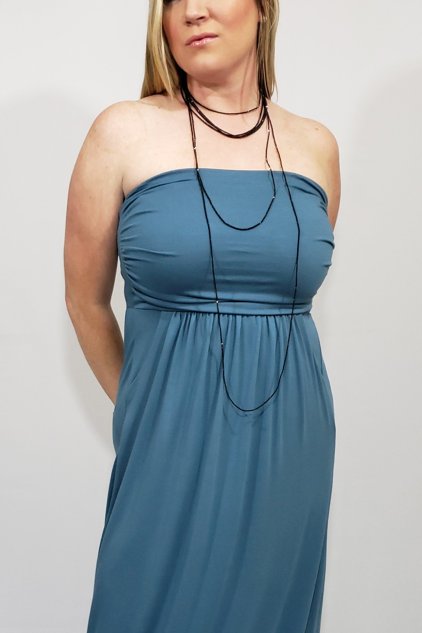 A Pocket Full of Delights Maxi Tube Dress in Titanium - Houzz of DVA Boutique