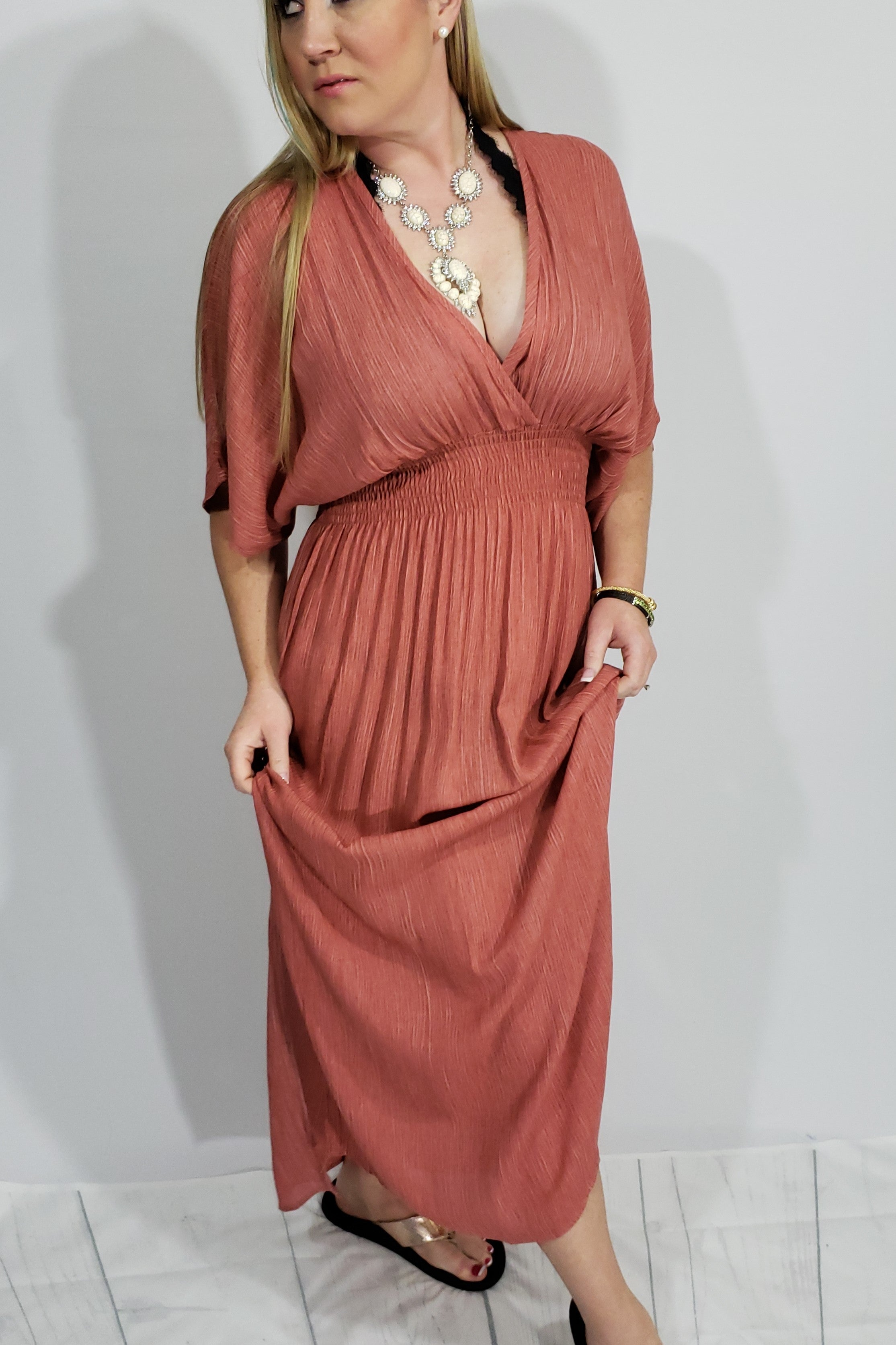 Uh Huh Honey Plunged V Neckline Maxi in Rust - Houzz of DVA Boutique