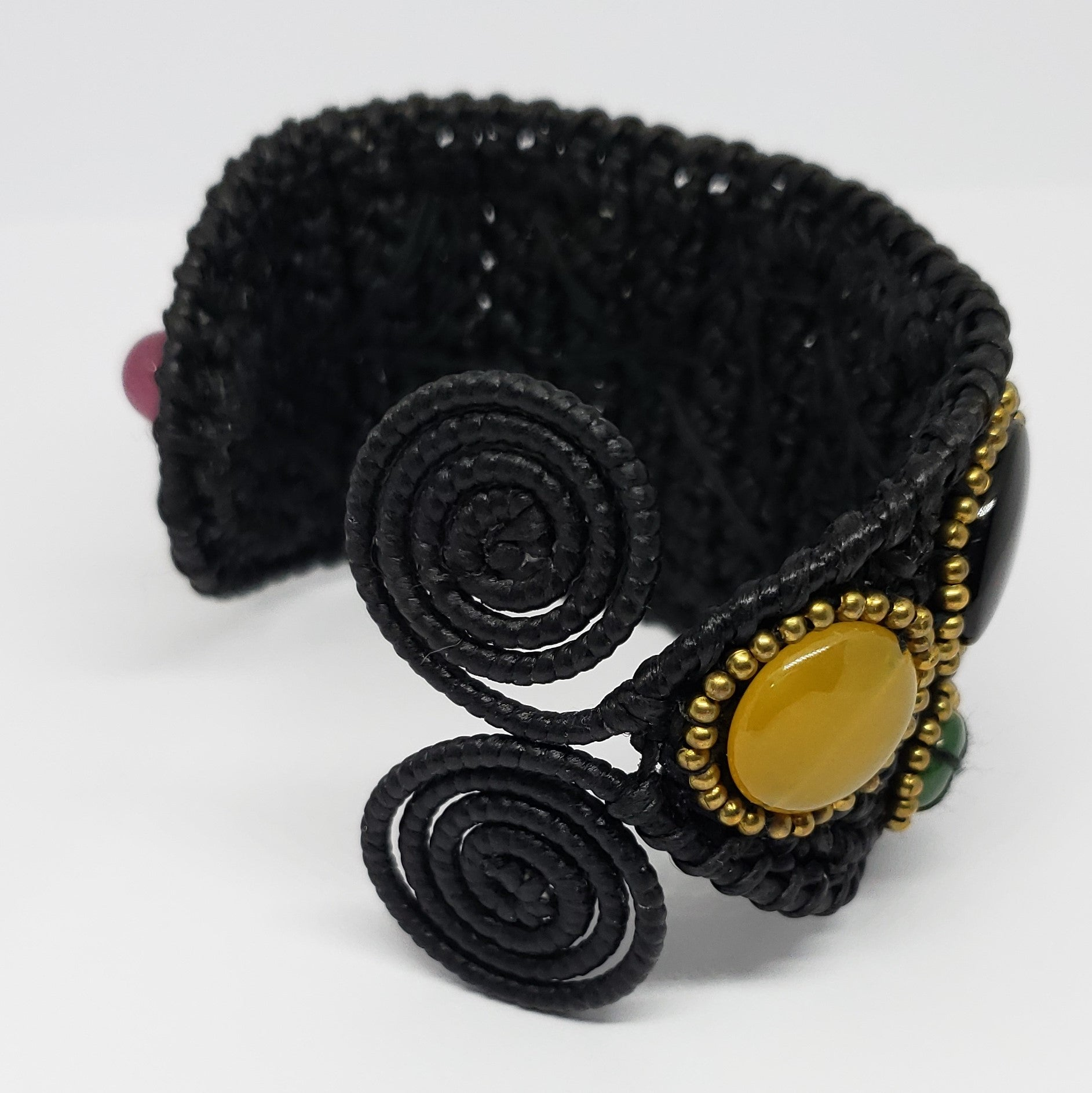 Multi Gemstone Macrame Cuff in Black - Houzz of DVA Boutique