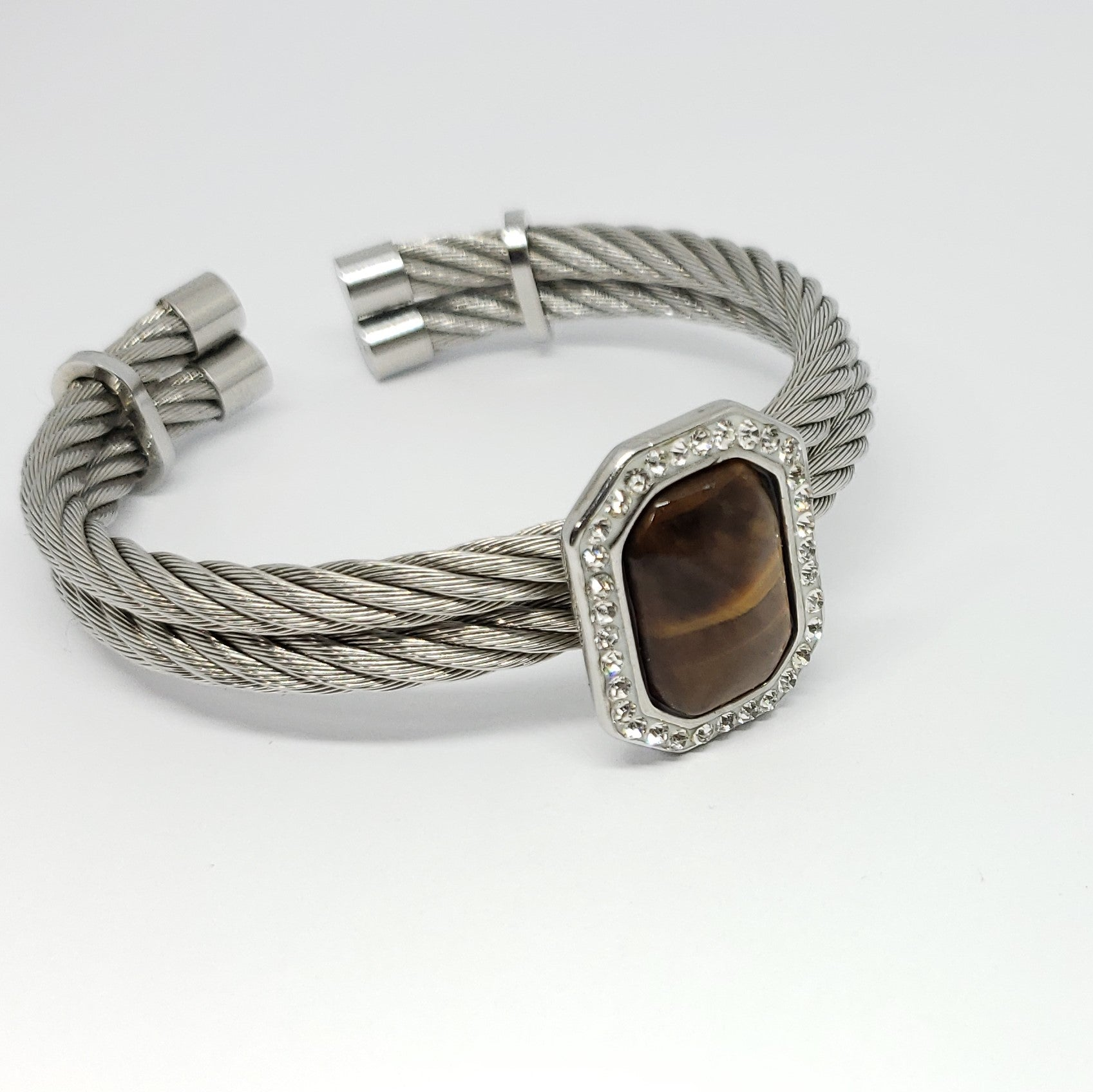 Tigers Eye Stainless Steel Cable Cuff - Houzz of DVA Boutique