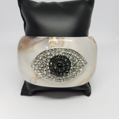 Evil Eye Crystals and Resin in Cream Cuff - Houzz of DVA Boutique
