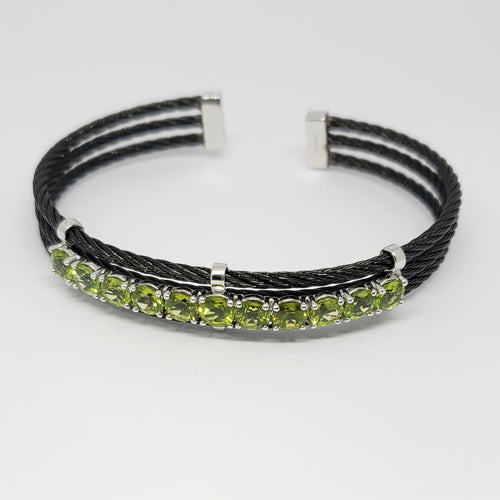 Peridot Sterling Silver with Black Stainless-Steel Cable Cuff Bracelet 5.00ctw - Houzz of DVA Boutique