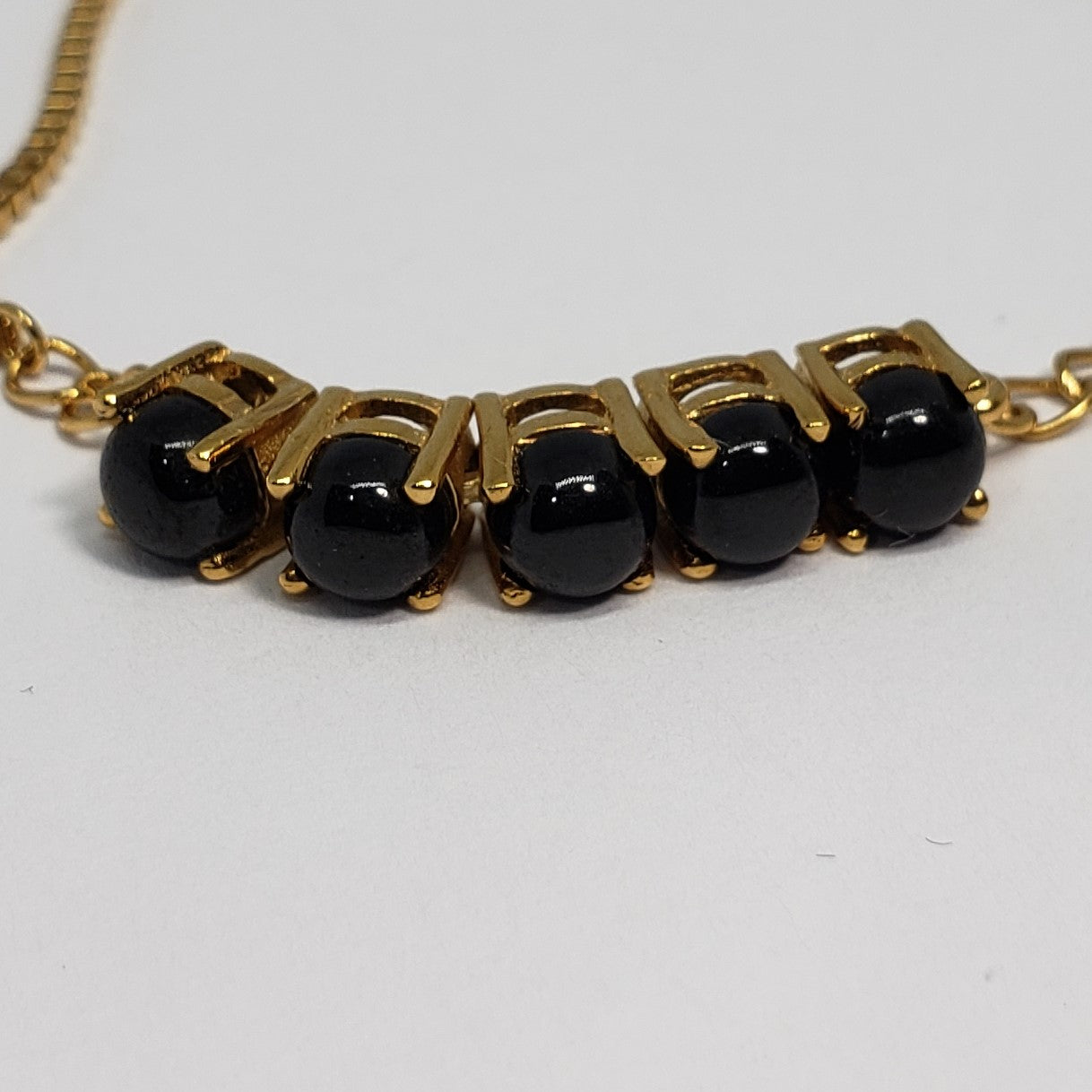 Thai Black Spinel ION Plated 18K YG Brass Cabochon Bolo Bracelet TGW 4.80 cts. - Houzz of DVA Boutique