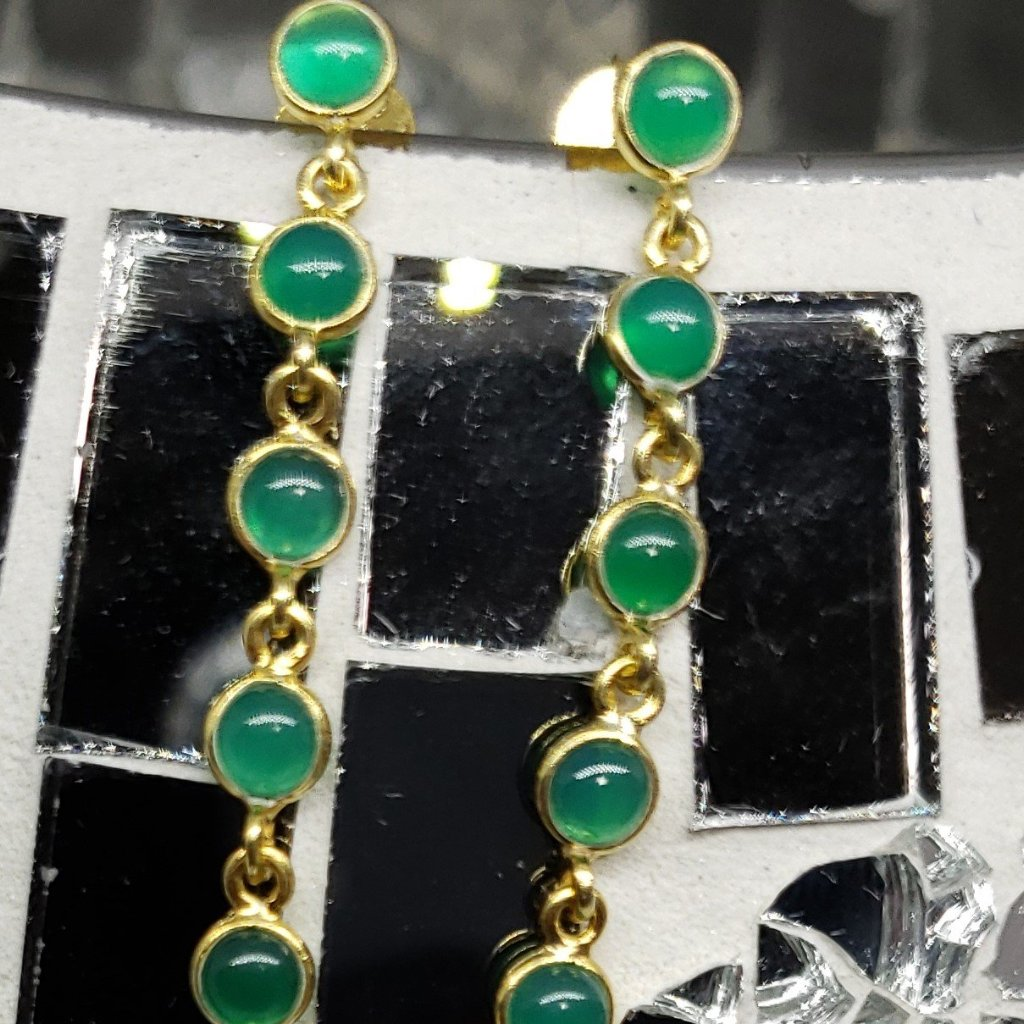 Green Onyx 14K YG Over Sterling Silver Line Drop Earrings TGW 3.00 cts - Houzz of DVA Boutique