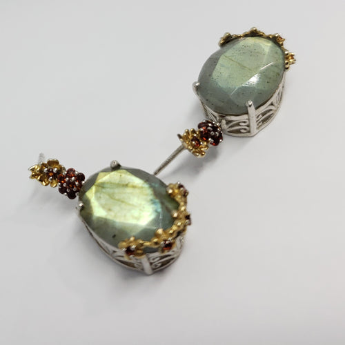 Malagasy Labradorite, Mozambique Garnet 14K YG and Platinum Over Sterling Silver Dangle Earrings TGW 8.925 cts. - Houzz of DVA Boutique