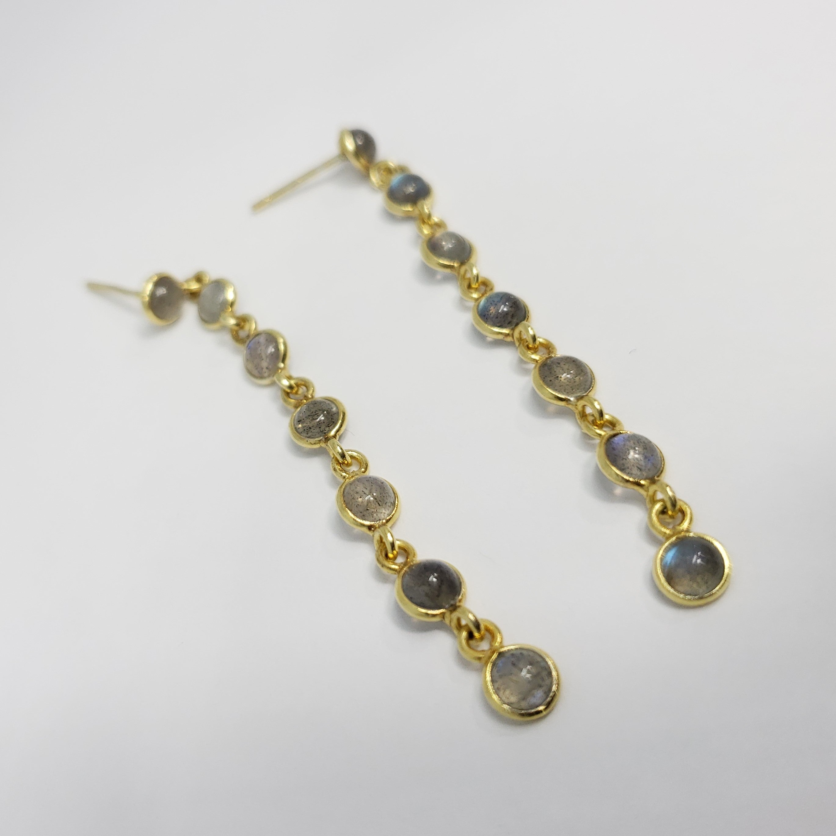 Malagasy Labradorite 14K YG Over Sterling Silver Line Drop Earrings TGW 3.50 cts. - Houzz of DVA Boutique