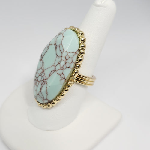 Howlite Goldtone Ring (Size 8.0) TGW 4.50 cts. - Houzz of DVA Boutique