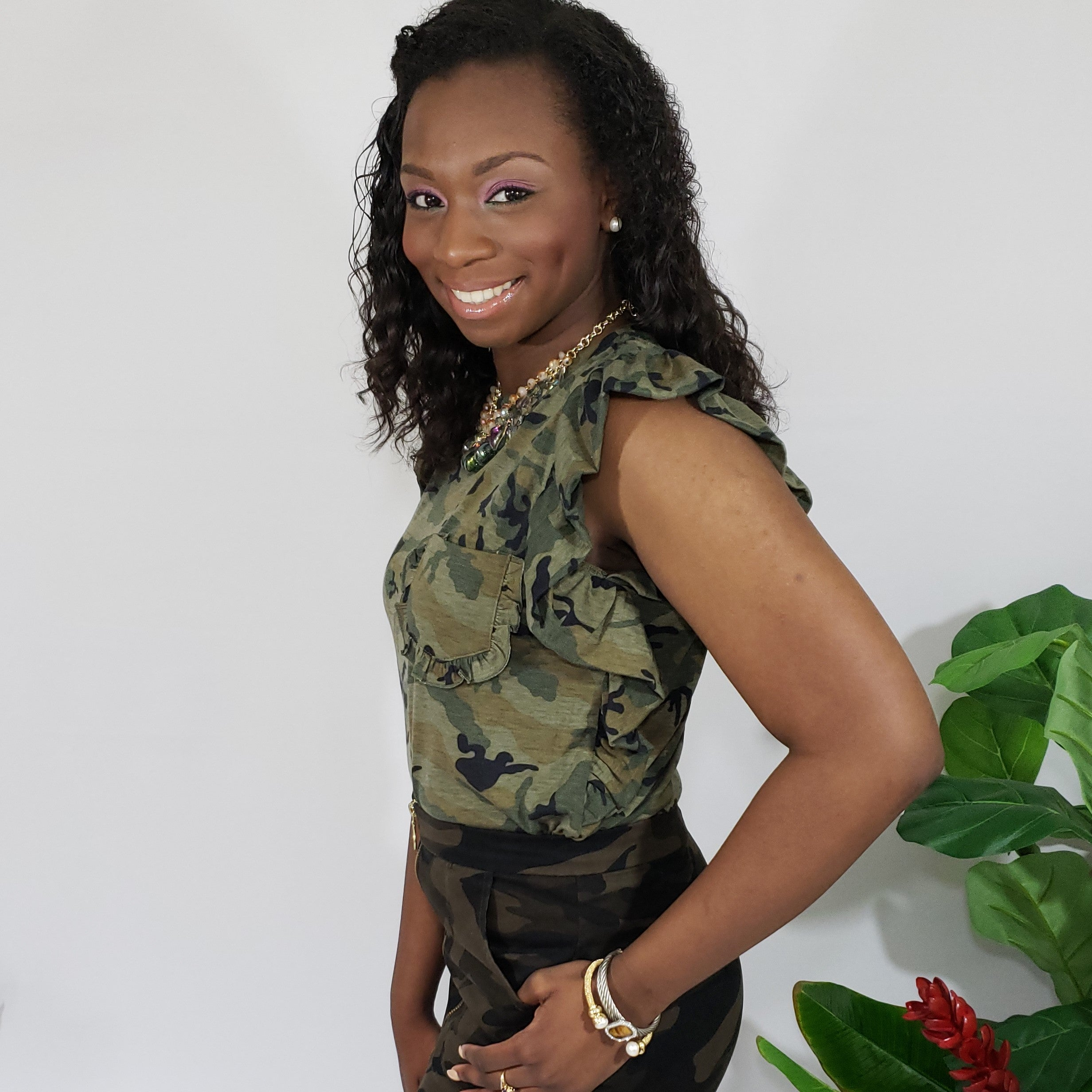 You'll Always Find Jami Ruffled Camo T-Shirt - Houzz of DVA Boutique