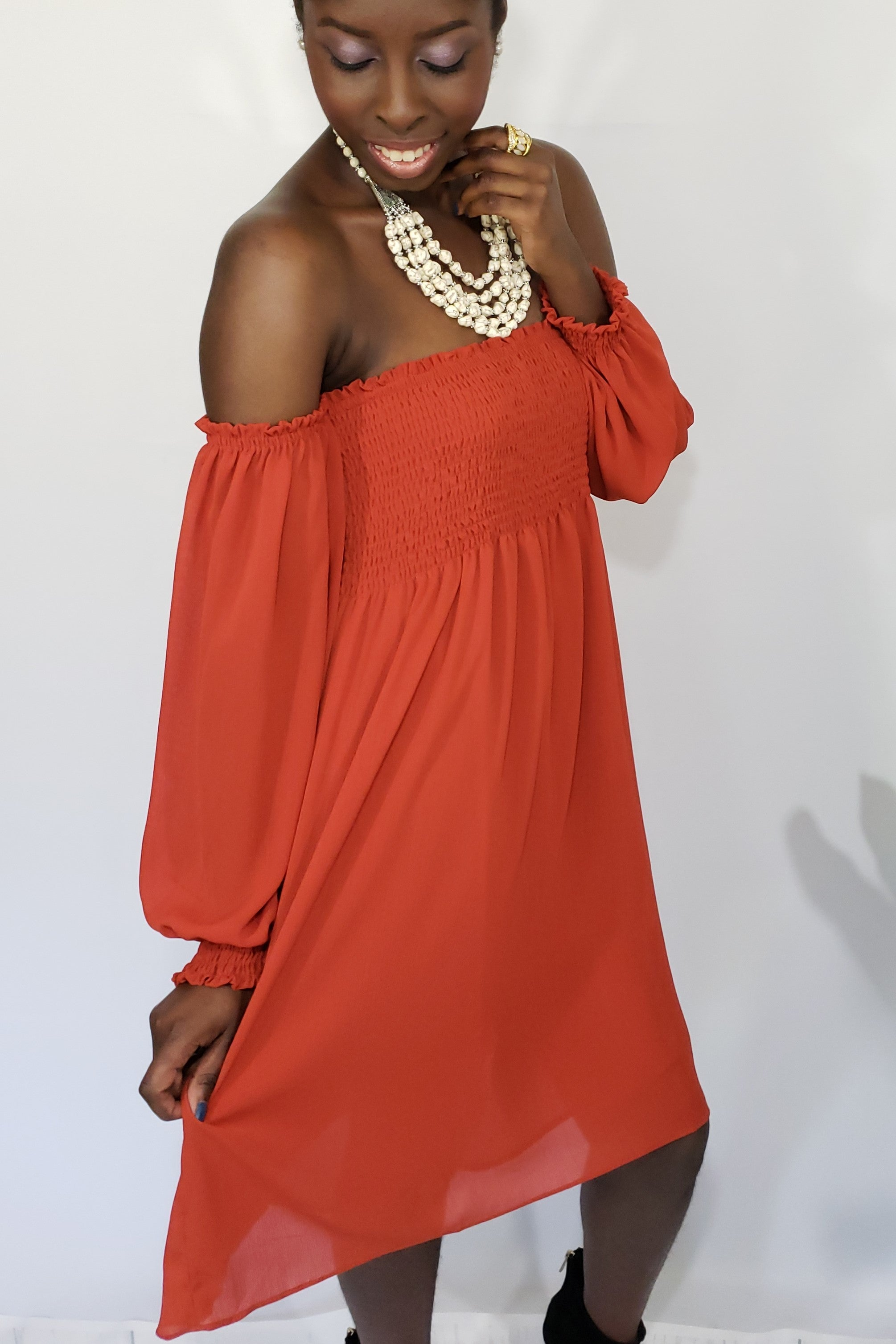 Irresistible Me Burnt Orange Off the Shoulder Dress - Houzz of DVA Boutique