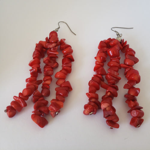 Polished Red Coral Chip Beads Triple Strand Earrings in Stainless Steel - Houzz of DVA Boutique
