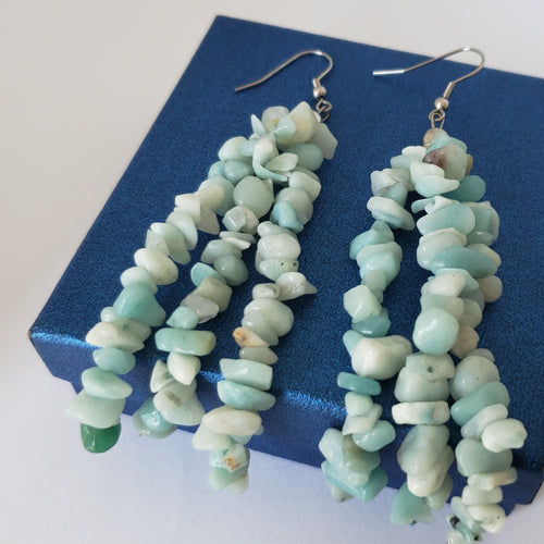 Russian Amazonite Polished Chip Beads Triple Strand Earrings in Stainless Steel - Houzz of DVA Boutique