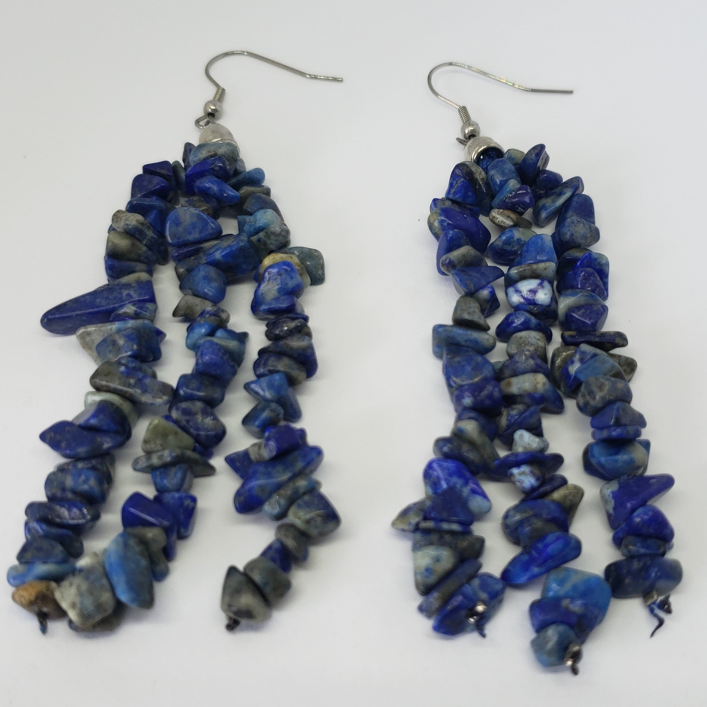Lapis Lazuli Polished Chip Beads Triple Strand Earrings in Stainless Steel - Houzz of DVA Boutique