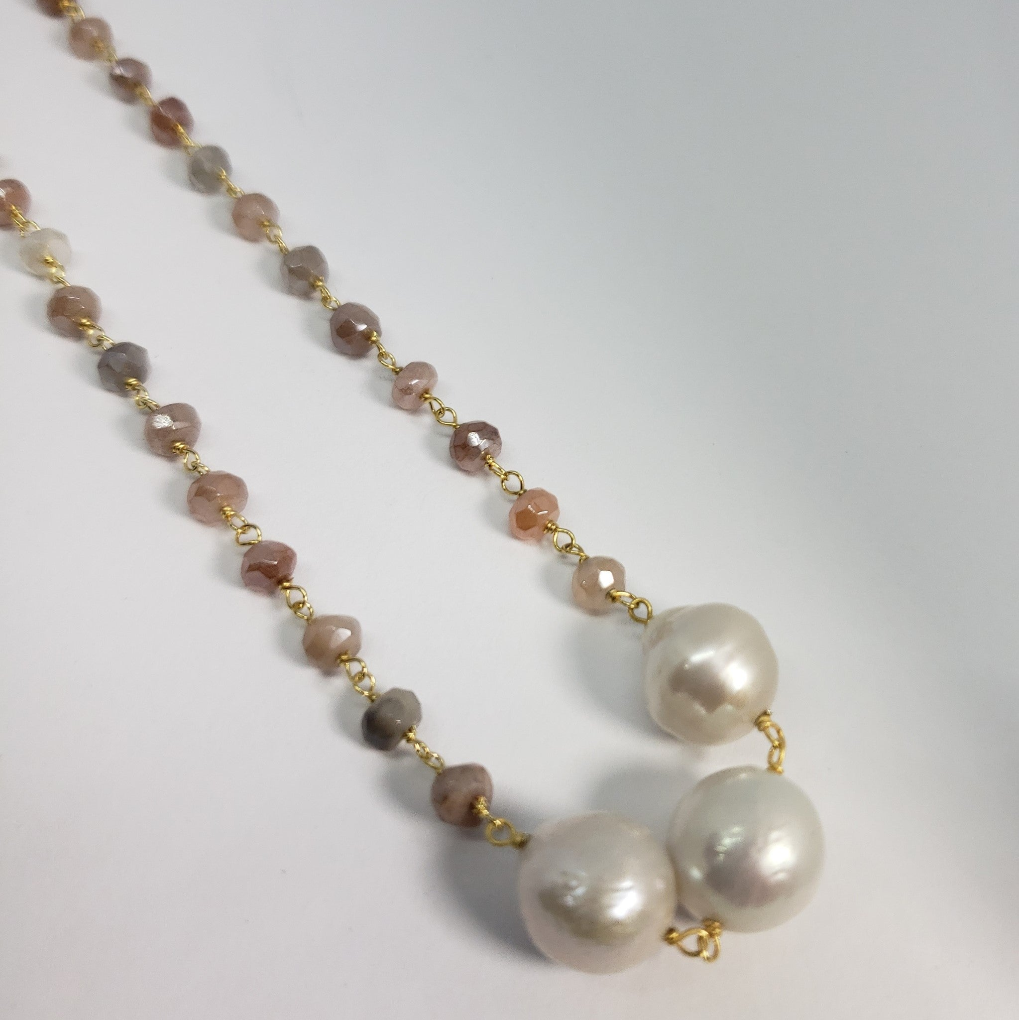 Sabrina Trilogy Station Multi Moonstone, Freshwater Pearl Necklace in 14K YG Over (18 in)  TGW 7.80 cts. - Houzz of DVA Boutique