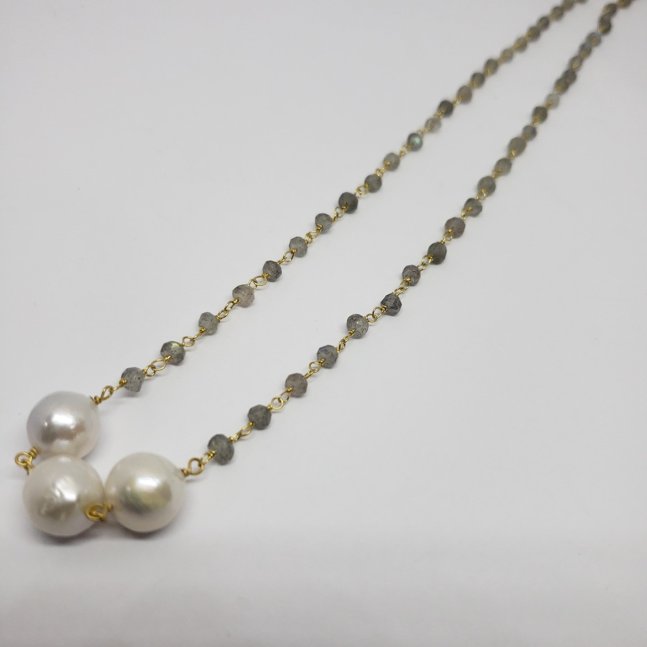 Sabrina Trilogy Station Malagasy Labradorite, Freshwater Pearl Necklace in 14K YG Over (18 in) TGW 25.37 cts. - Houzz of DVA Boutique
