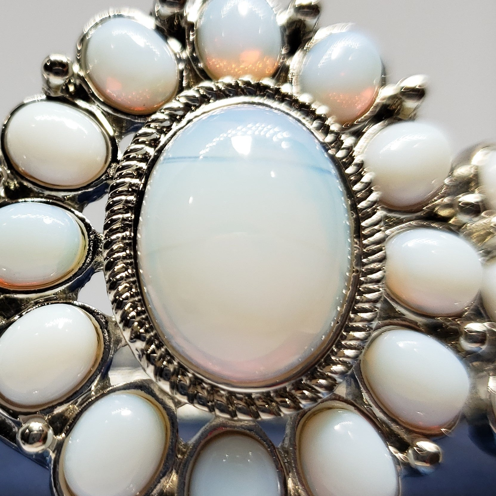Delightful Opalite Silvertone Hinged Bangle (7 in) TGW 65.00 cts. - Houzz of DVA Boutique