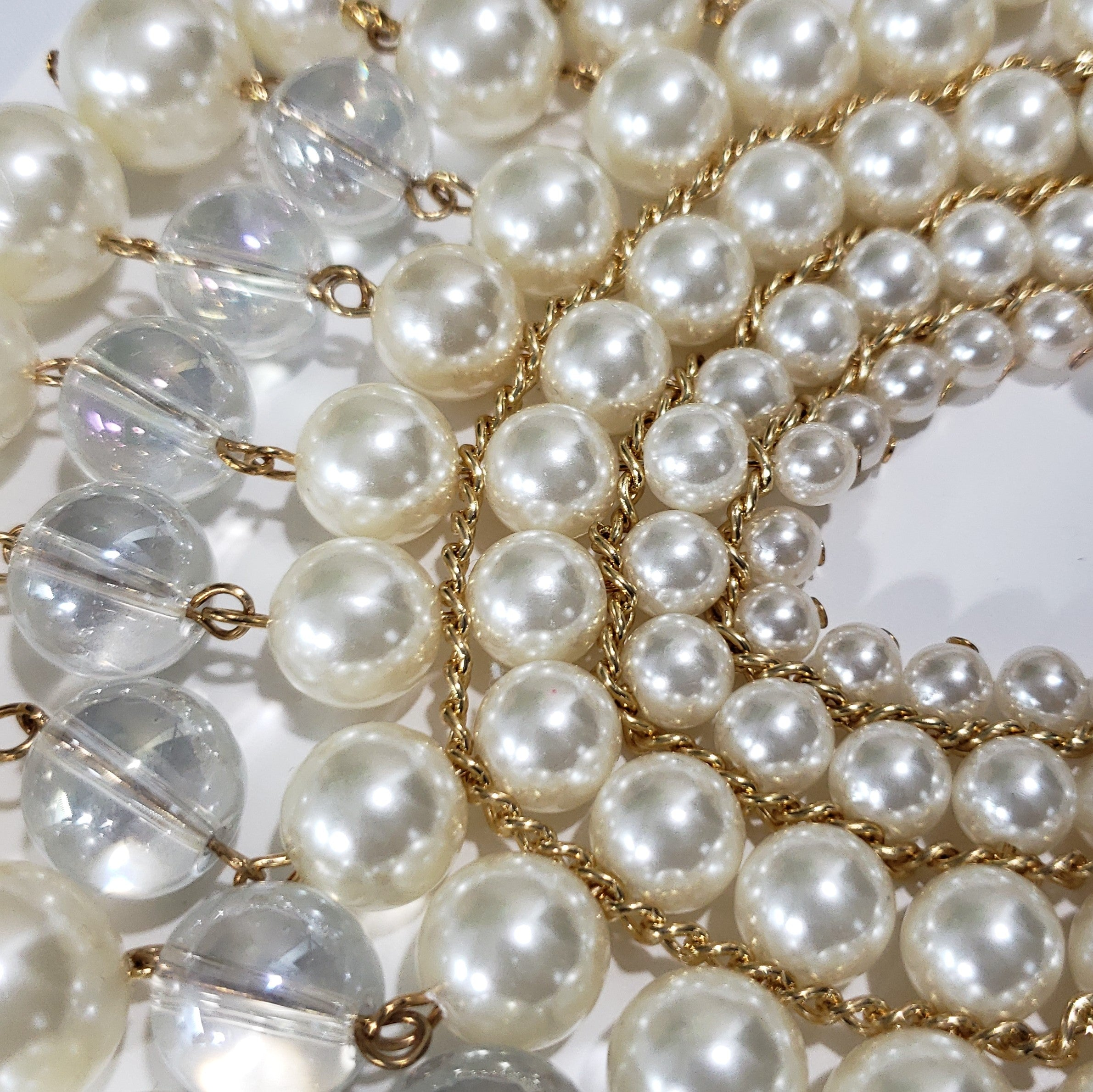 Isn't she Lovely Simulated White Chroma Pearl Bib Necklace in Goldtone (20 in) - Houzz of DVA Boutique