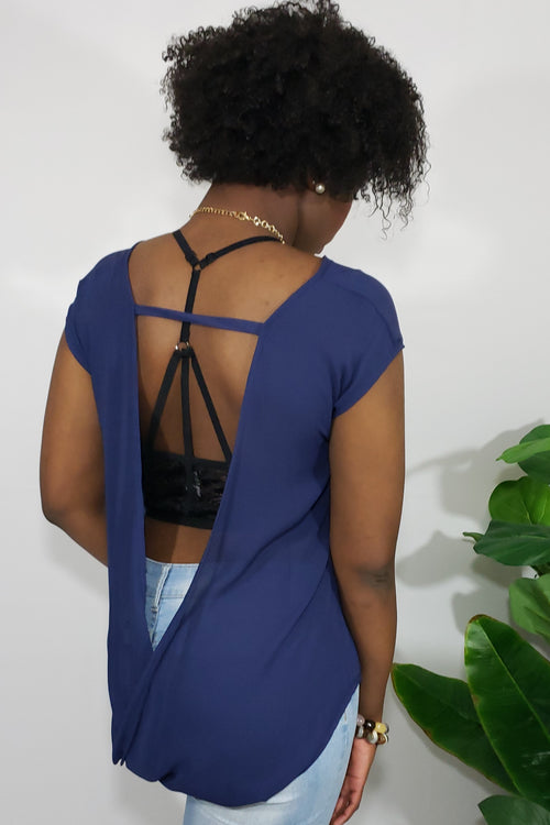 Danzi Open Back Sheer Top in Blue - Houzz of DVA Boutique