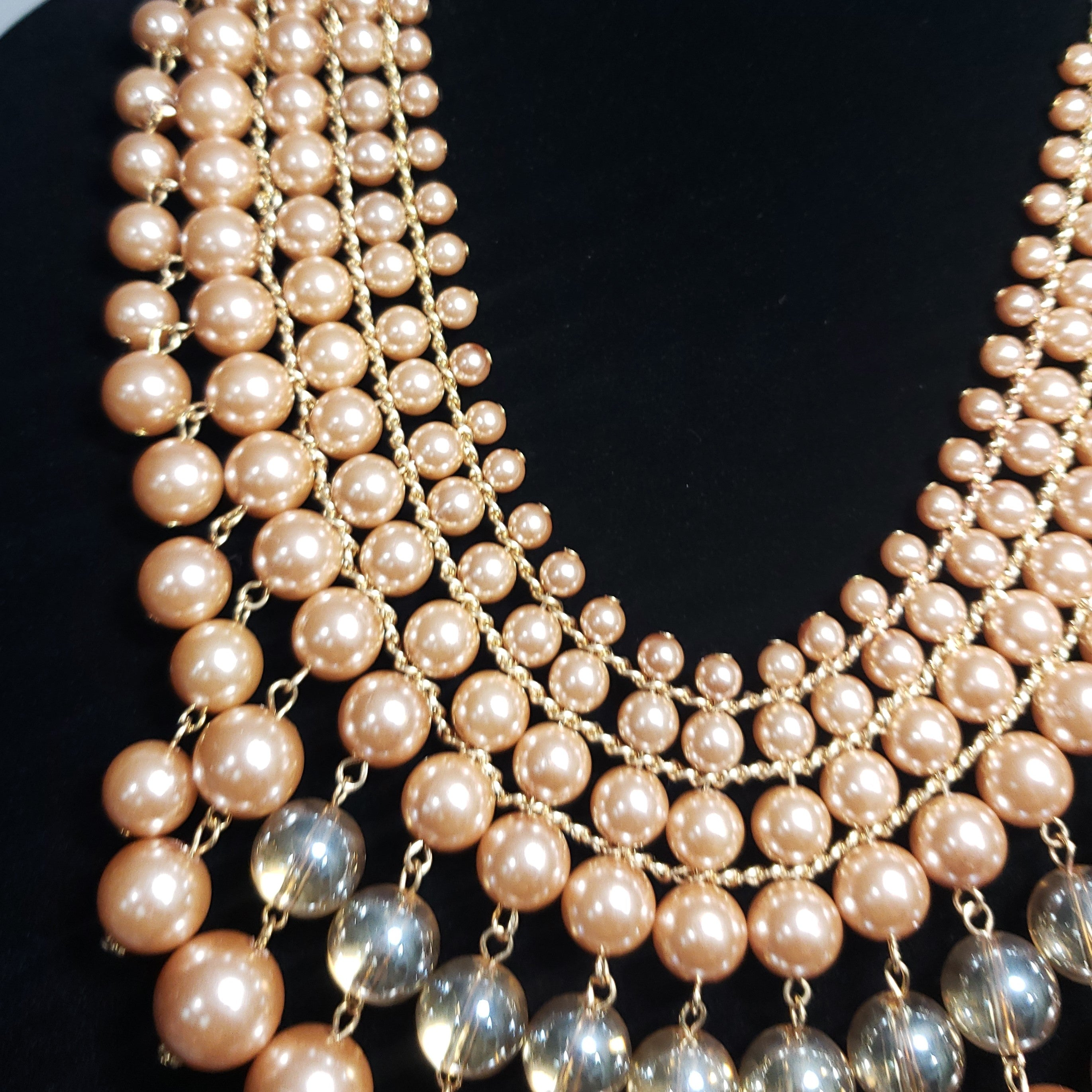 Isn't she Lovely Simulated Champagne Chroma Pearl Champagne Glass Rosetone Necklace (20 in) - Houzz of DVA Boutique