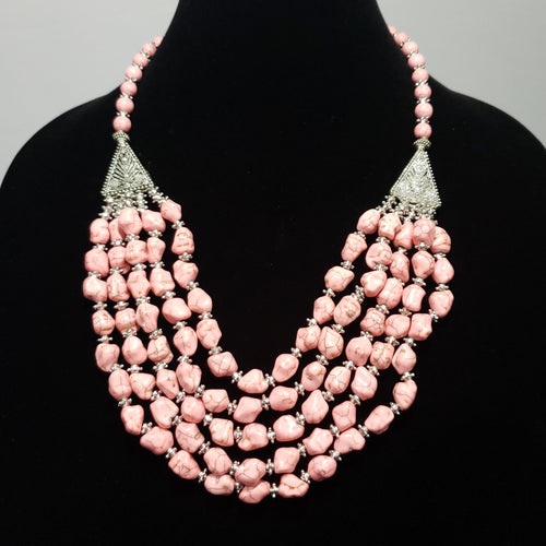 Pink Howlite Triple Row Drape Necklace in Silvertone (20.00 In) TGW 1004.00 cts. - Houzz of DVA Boutique